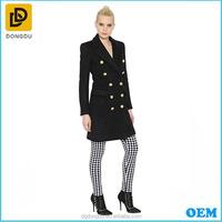 Black double breasted women boilded 100% wool full-length coat