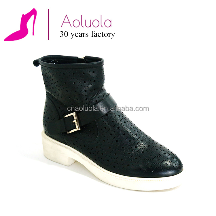 New style rubber outsole leather upper sneaker boots