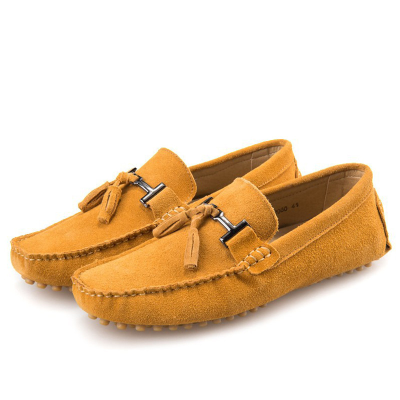 Fashion Breathable Moccasins Men Suede Leather Tassel Men Loafers Shoes Genuine Leather Flats Mens Shoes Casual Loafers