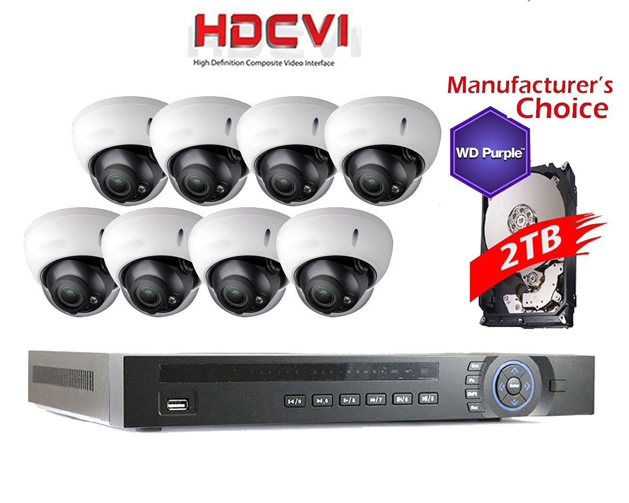 iCare 1080P Package: 8 Channel HDCVI with 8x 2MP IR Camera with 2TB WD Purple HDD Pre-installed, 2 years warranty, Local US Support