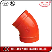 FM/UL certificated ductile iron pipe products pipe fittings 45 degree elbow