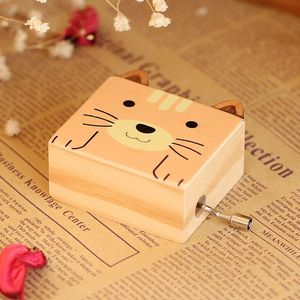 Wooden Multi Cartoon pattern Hand crank music box for Children gift