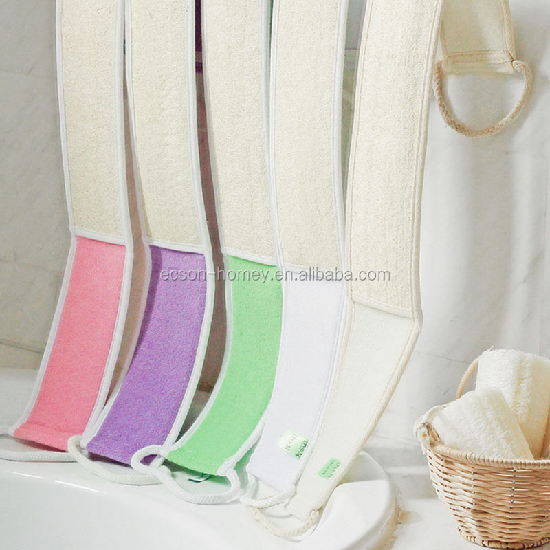 Natural Loofah Infant Bath Scrub Brush Long Back Body Bath Belt Towel,loofah back scrubber