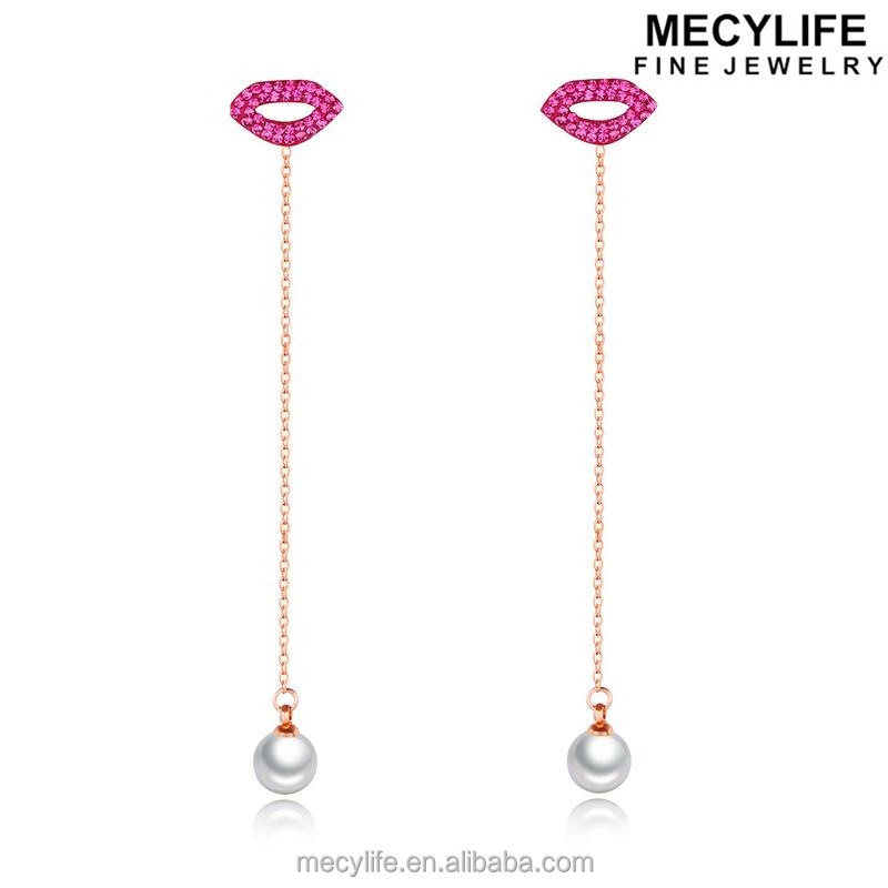 MECYLIFE Elegant Red Lips Hanging Small Pearl Drop Earrings For Girls Prom Earrings