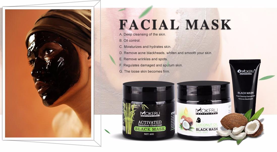 Private label maschera nera su misura comedone maschera estratto di olio di cocco biologico nero maschera peel off per gli uomini e le donne
