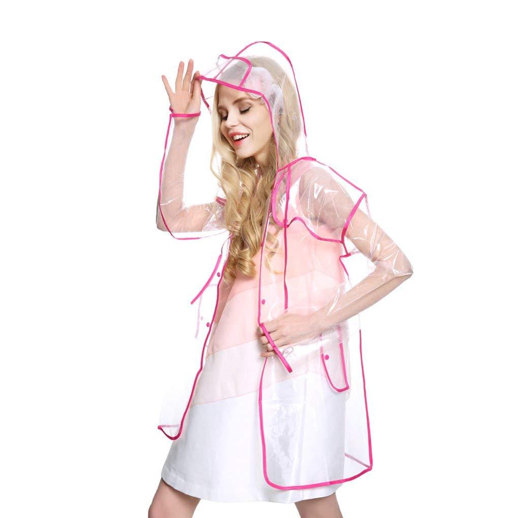 e69f27ceb4b Get Quotations · Women Ladies Hooded Raincoat Rainwear Long Transparent  Raincoat Poncho Packable Waterproof Rain Jacket