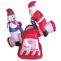 120cm/4ft inflatable santa claus and snowman play the red and White Seesaw for christmas decoration