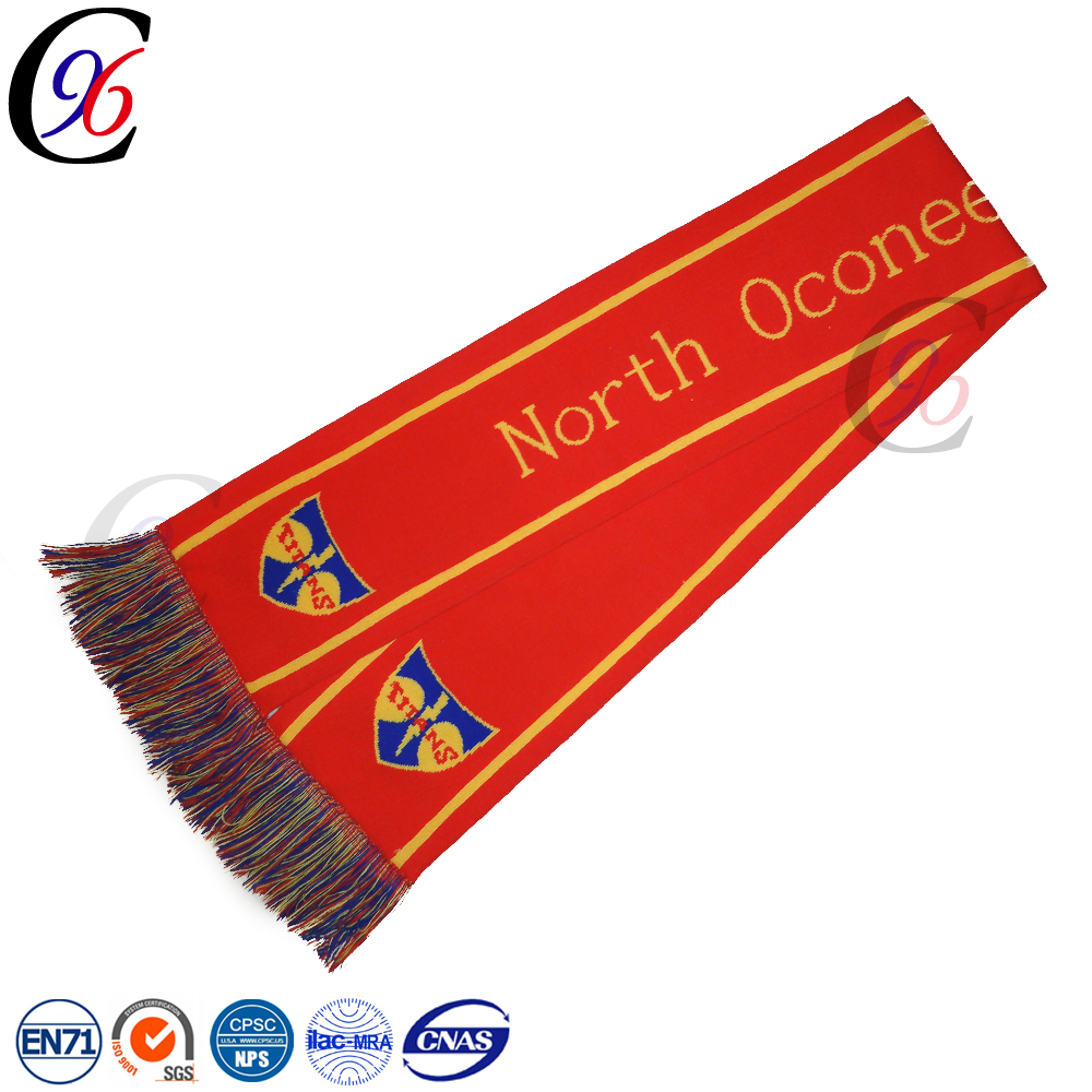 Chengxing wholesale high quality soccer football cheap knitted acrylic printing custom fan scarf