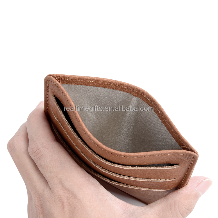 2017 Soft brown geniune real leather rfid protection credit card holder
