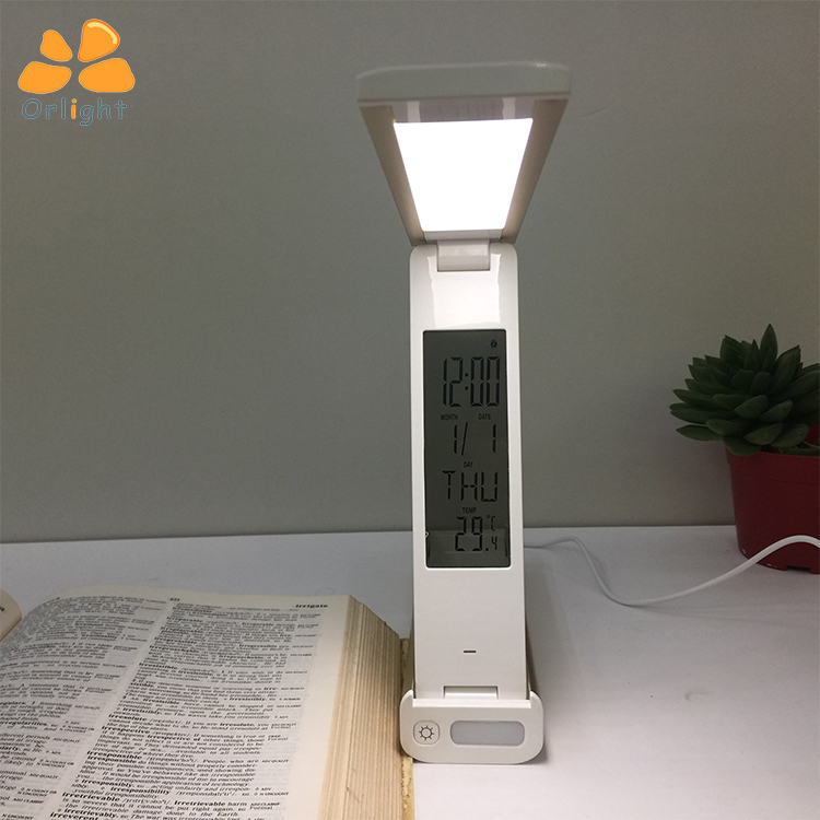 Multi Function Modern Battery Folding Nail Desk Lamp Study Reading Led Table Light With Clock