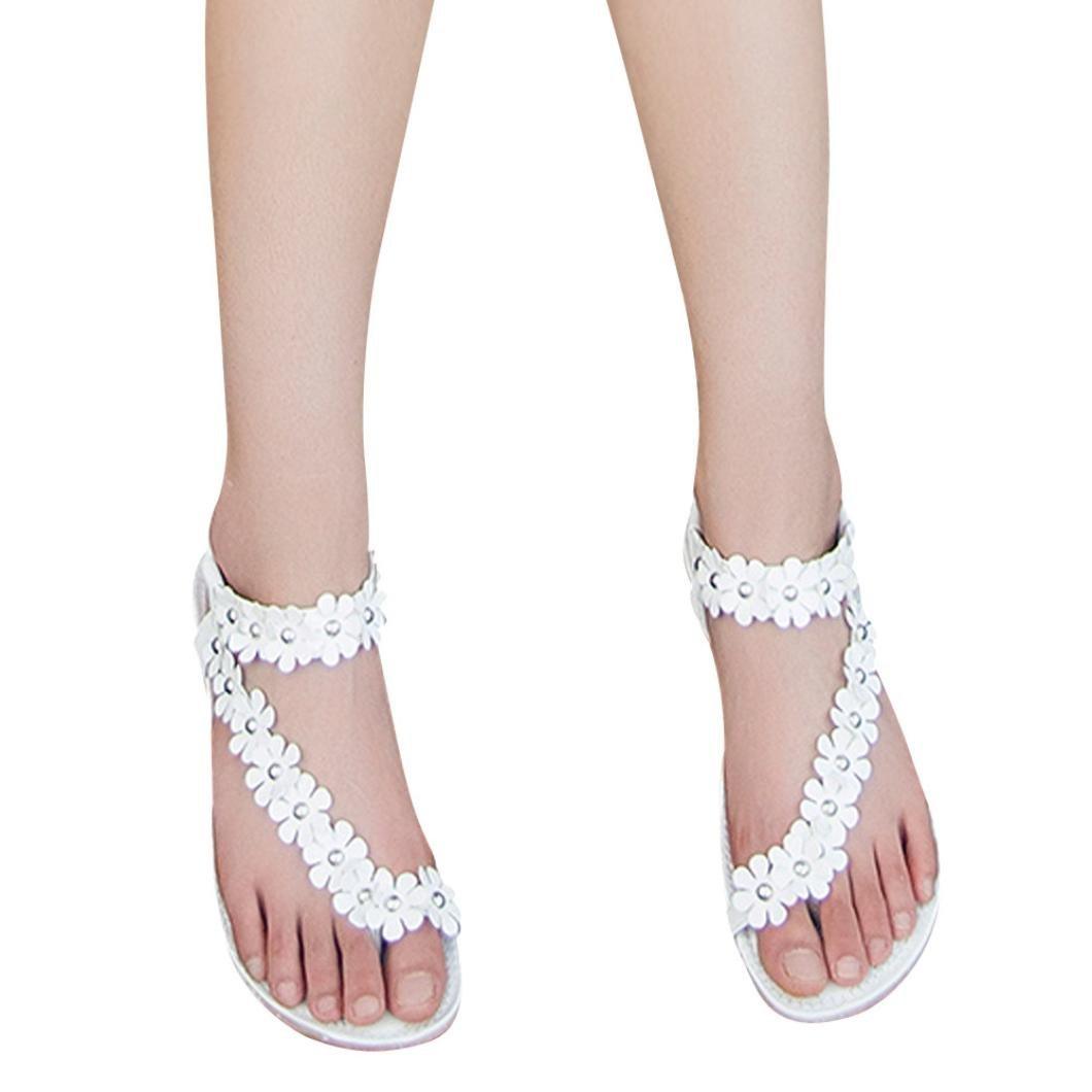 Hunputa Women Summer Bohemia Flower Beaded Sandals Clip Toe Sandals Beach Shoes