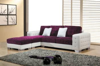 Bisini Purple L Shape Sofa And White Living Room