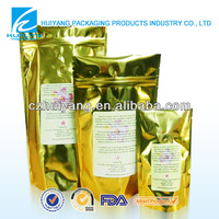 FDA stand up gold plastic packaging bag with zipper