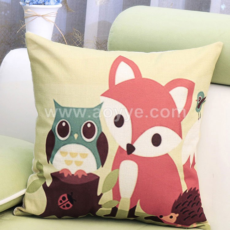 wholesale car waist custom printed lovely fox pattern cats Lovely cat star people Household sofa cartoon fox pillow cases