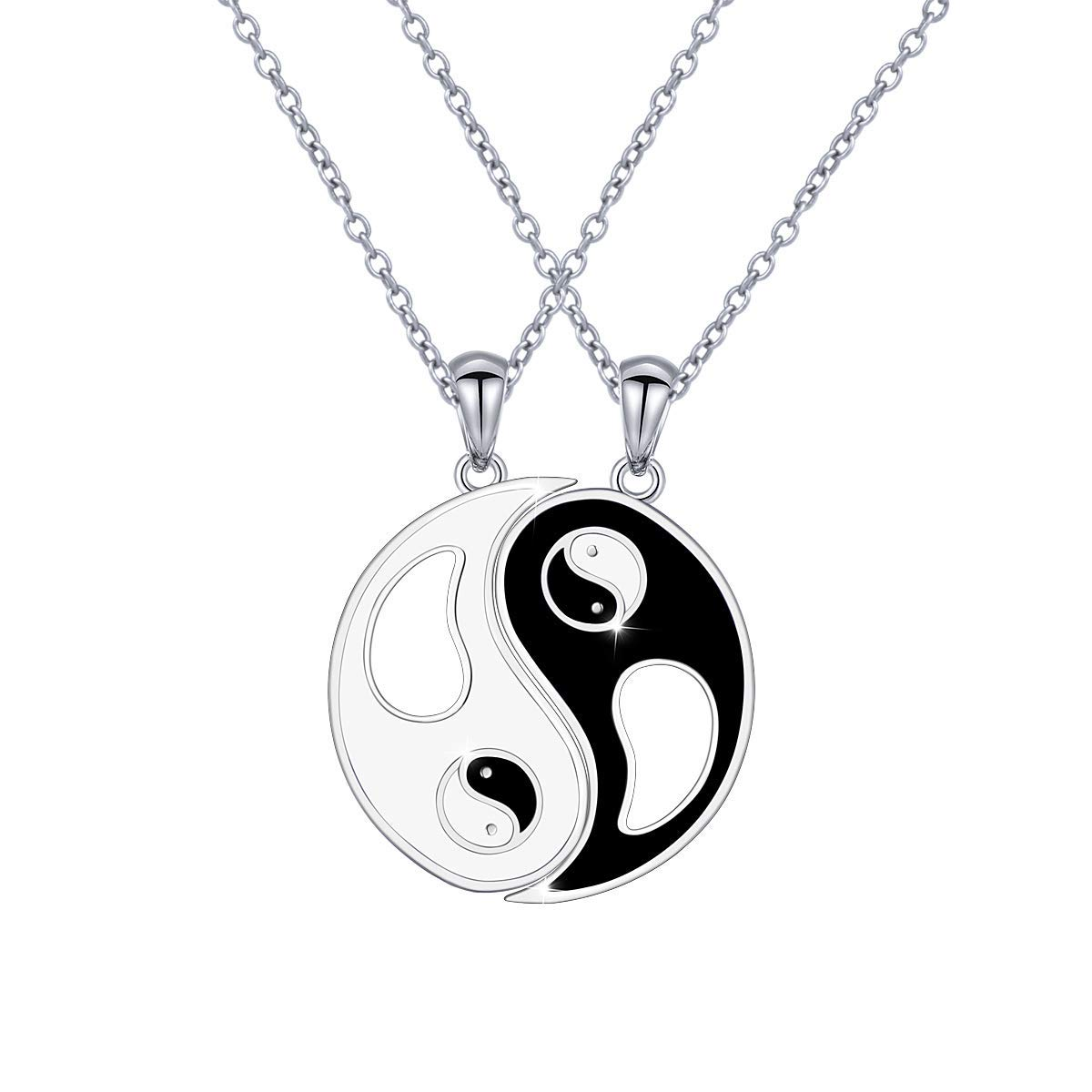 f12e7f9ff Get Quotations · S925 Sterling Silver Best Friend Necklaces Heart 2 Piece  Gifts Women Teen Girls Friendship BBF Pendant