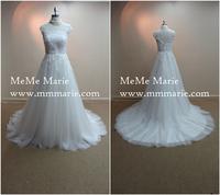 Beautiful Chiffon Applique Designed High Quality White Lace Wedding dress