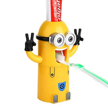 Eco-Friendly minion dispenser bathroom accessories automatic toothpaste dispenser Plastic Bathroom Products with Brush Cup
