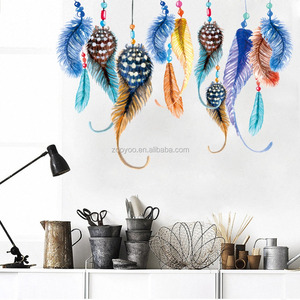 zooyooPA-S0001B-N Colorful Feather Wall Stickers Nice Creative Wall Decor Bedroom Sofa Background Home Decoration