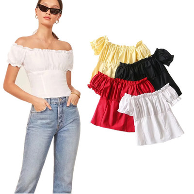 Wholesale Clothing Women White Off <strong>Shoulder</strong> With Smocking Design Women Wholesale Bulk Crop Tops