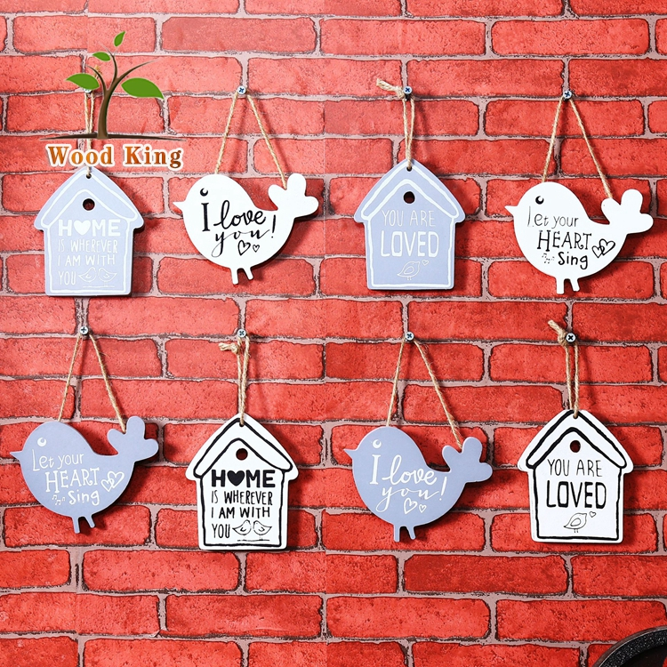 Garden Country Creative Wood House Bird Decoration Wood Signs Home Decor