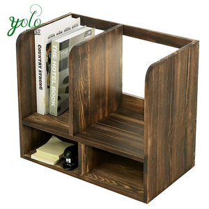 Rustic Office Multi Storage Shelf Organizer Wood Desktop Bookcase