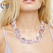 NLX-00913 big quartz necklace natural crystal stone handmade glitttered natural crystal stones jewelry wholesale