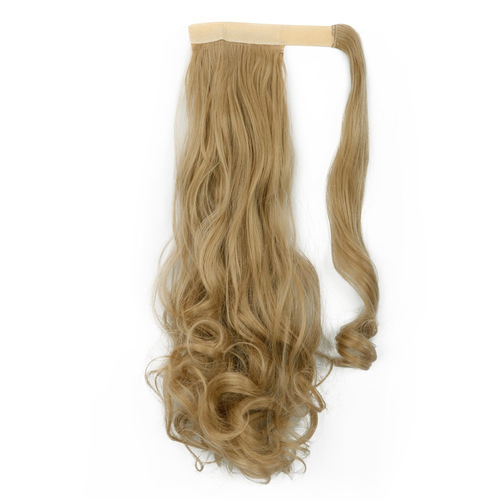 S-noilite®Many Colors 17 23 Inches Straight Curly Wavy Wrap Around on Ponytail Clip in Hair Extensions Hairpiece Pony Tail (24''-Curly, Ash Blonde)