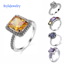 New Style Fashion Design Silver Ring, Zircon Crystal Stone Wedding Ring
