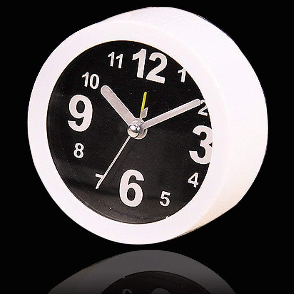 Kangkang@ HOT Sale Modern Small Round Alarm Clock Desk Table Desktop Time Clock Simple Style Home Office Decoration