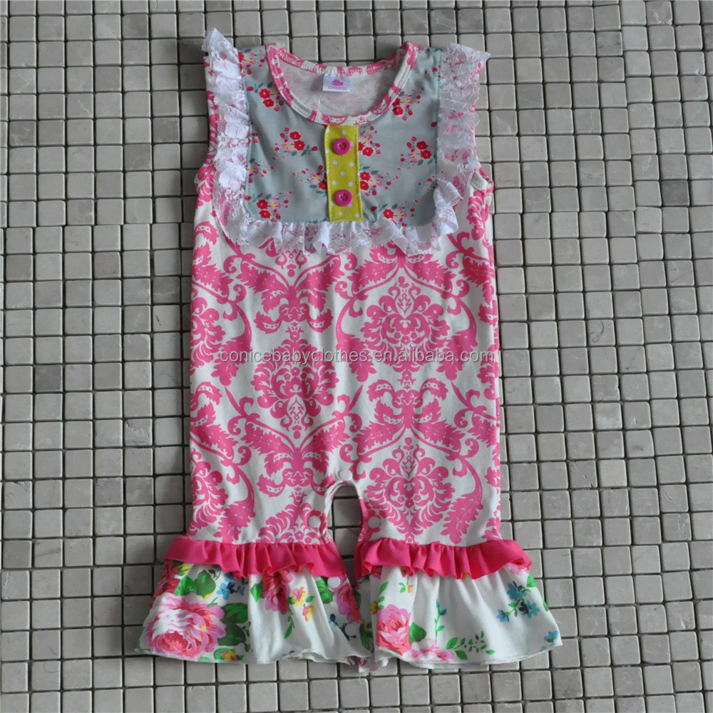 Toddler Girls Floral Romper Children's Home Cotton Clothing Sleeveless Boutique Outfits