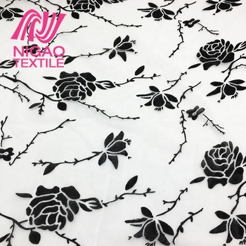 luxury beautiful black rose floral print mesh fishing net flock fabric for low price