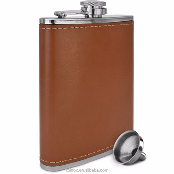 304 Stainless Steel 8 oz Soft Touch Leather Wrap Flask