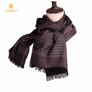 722144fd87a Fringe Long Silk and Silk Raised Double Layers Winter Men Fashion Scarf