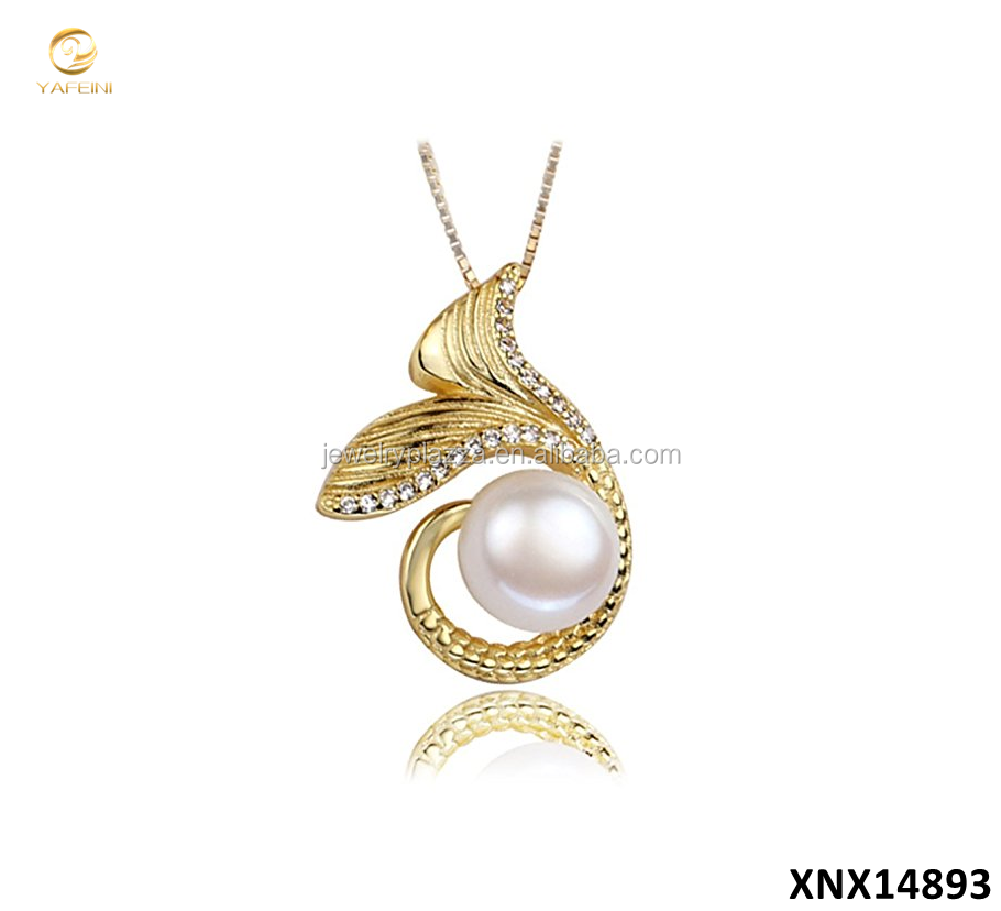 New Design 925 Sterling Silver Freshwater Pearl Mermaid Tail Pendant Necklace Mermaid Pearl Jewelry Mounting