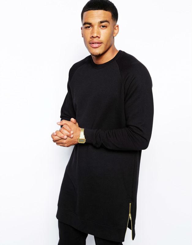 Men s High Fashion Street Wear Crew neck black Extra Long sweatshirt with  side zippers da4f5aeee56