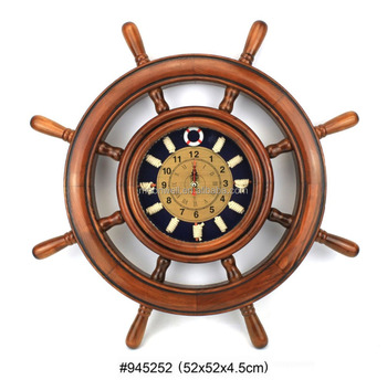 Wooden Nautical Knots Frame Ship S Wheel With Clock Decorative Gifts Souvenir