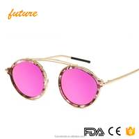 Future Newest Fashion Top Quality Gold Eyeglasses Metal Frame Outdoor Shade Uv400 Round Safety Men Women Sun Glasses 2017