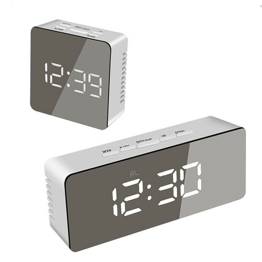 LED Digital Mirror Alarm Clock times square) 밤 빛 벽 Clock 와 Date 온도계 USB