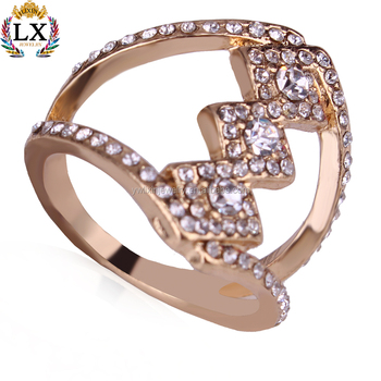 Rlx 00343 2018 Trendy Ancient Greek Hollow Princess Dubai Gold Ring Designs Rhinestone For
