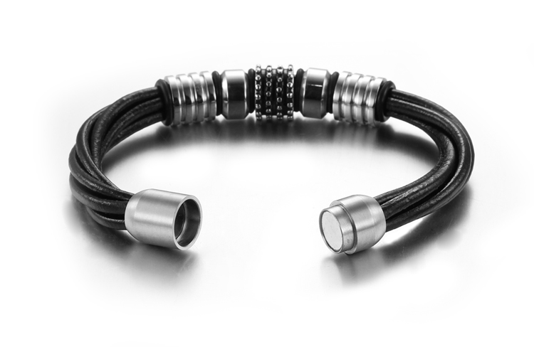Original Men's Jewelry Antique Stainless Steel Bracelet Handmade Leather Bangle With Magnetic Suction Socket