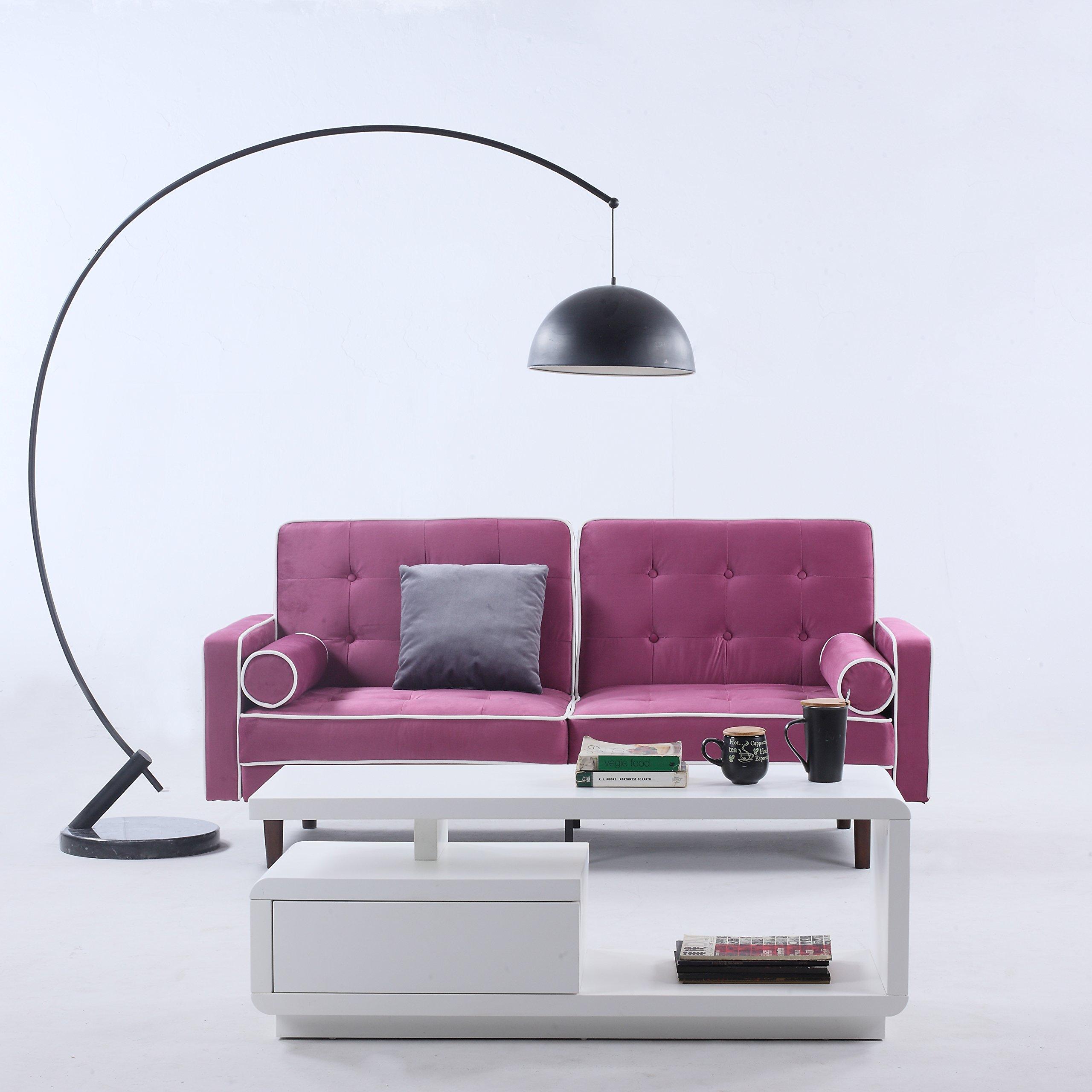 Get quotations · divano roma furniture mid century modern two tone splitback tufted velvet futon purple