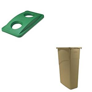 KITRCP269288GNRCP354000BG - Value Kit - Rubbermaid Green Bottle amp; Can Recycling Top For Slim Jim Waste Containers (RCP269288GN) and Rubbermaid Slim Jim Waste Container (RCP354000BG)