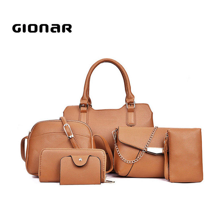 China Online Shopping Trendy Designer PU Leather 6 Pieces Wallet Ladies Pars Hand Set Bag
