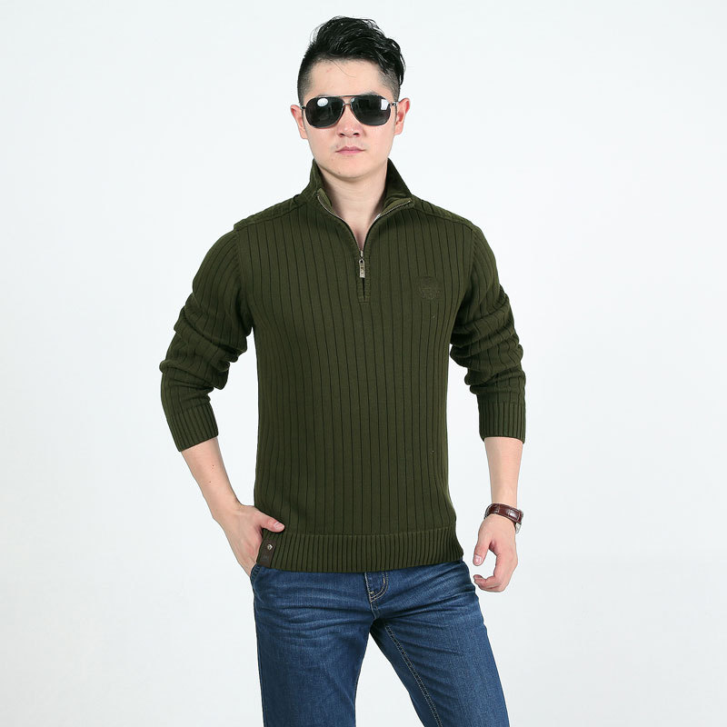 AFS JEEP Autumn Winter Men Cotton Knitted Fleece SweatersThick 2015 Stand Collar Casual Plus Size Pullover Long Sleeve Sweaters