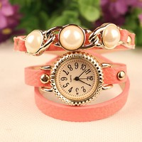 Three Opal Multilayer Bracelet Wristwatch Leather Bangle Watch With Leather Strap