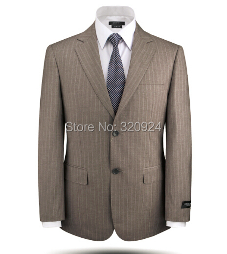 costume homme 100% wool men suits 2015 new arrival stripe design slim fit business suit XS-5XL
