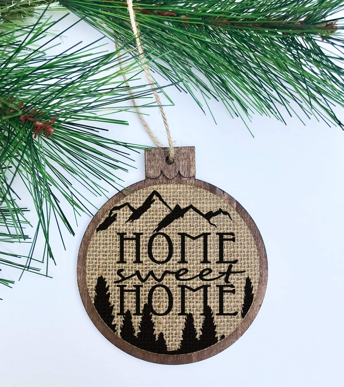 Home Sweet Home / Rustic Christmas Ornament / Wood Burlap / Christmas Shabby Chic Decor / Country Mountains Trees