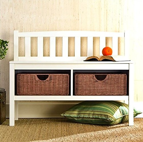 Hampton Wooden Seat Storage Bench With Rattan Baskets And Back   Great  Entryway Hallway Furniture   This Basket Organizer Foyer Chest Is White And  Has 2 ...