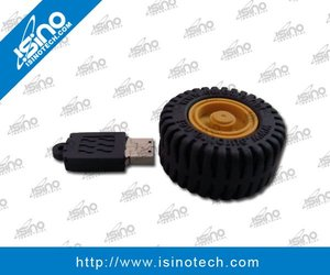 Wheel USB Flash Drive in Soft PVC Material, Giveaway for Auto Industry