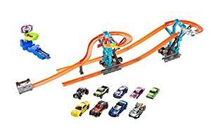 Mattel Hot Wheels Track Builder Playset, (Including Set of 9 Cars, Track Builder Spiral Starter Set With Over 5 Feet of Track, Extra Stunt!)